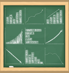 Graphs on blackboard vector image