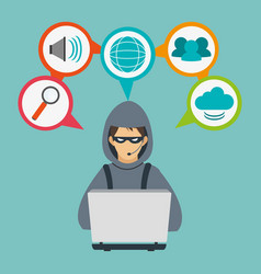 Hacker cyber security system design vector