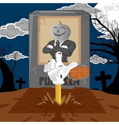 halloween cartoon resurrect pumpkin vector image