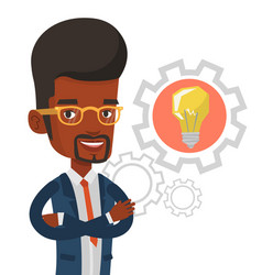 man with business idea bulb in gear vector image vector image