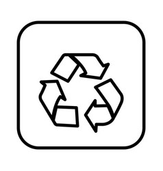 Monochrome contour square with recycling icon vector