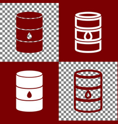 Oil barrel sign bordo and white icons and vector