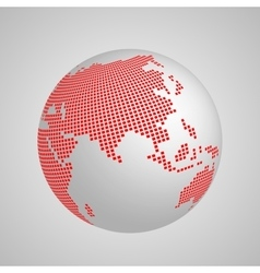 planet Earth globe with red squared map of vector image