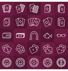 Poker minimal icons set vector image