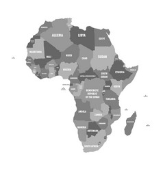 Political map of africa in four shades of grey vector