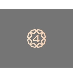 Premium number 4 logo icon design luxury vector
