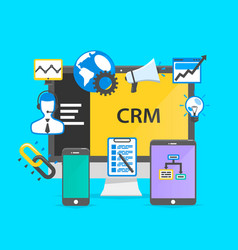 Programming crm icon set collage vector