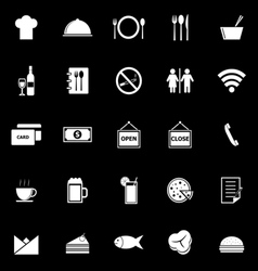 Restaurant icons on black background vector