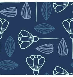 Seamless pattern with hand drawn flowers and leafs vector image vector image