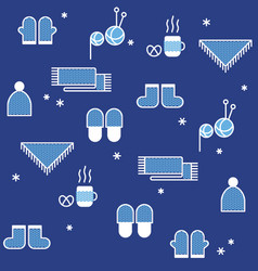 Seamless winter pattern knitting hygge concept vector