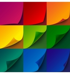 Set of curled rainbow paper square sheets with vector image vector image
