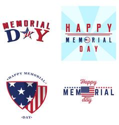 Set of memorial day labels vector