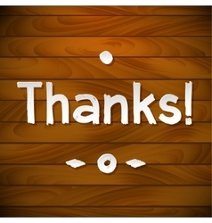 Thank you card on wood background Gratitude for vector image