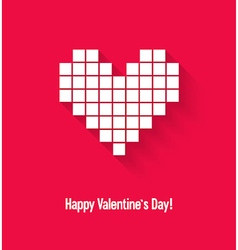 Valentines day card with abstract pixel heart vector