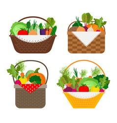 vegetables in baskets set vector image vector image