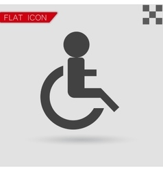 Wheelchair handicap icon flat style with red vector