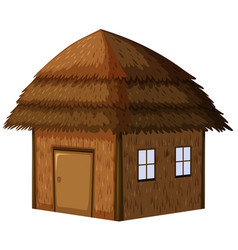 Wooden hut on white background vector