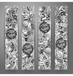 Cartoon cute doodles nail salon banners vector