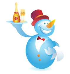 Snowman-waiter with champagne vector