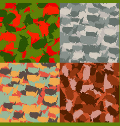 Set of usa shape camo seamless pattern colorful vector