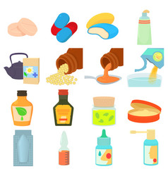 Drug types icons set cartoon style vector
