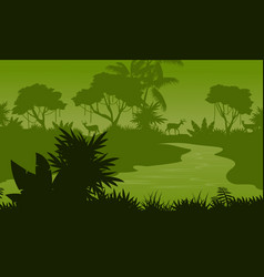 River on the forest scenery silhouettes vector