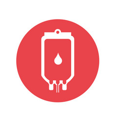 Blood bag round icon vector