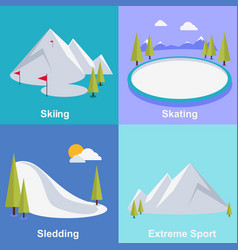 Active winter vacation extreme sports vector