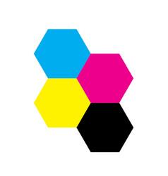 Four hexagons in cmyk colors printer theme vector