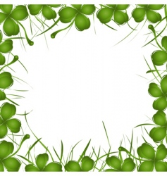 four leaf clover frame vector image