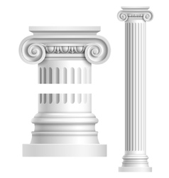 Realistic white antique column vector image