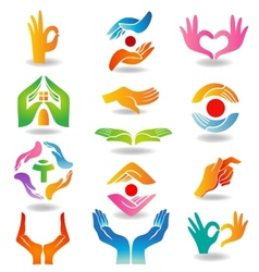Hands holding and protecting vector image