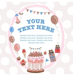 Greeting card for birthday with a field for text vector