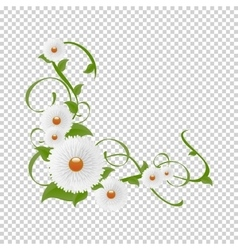 Vignette of flowers and greenery floral vector