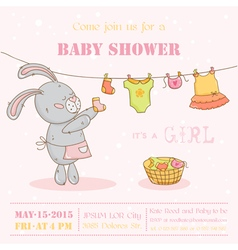 Baby shower or arrival card - with mommy bunny vector