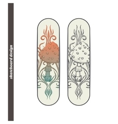Skateboard design abstract mushroom two vector