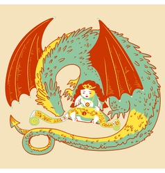 Princess and dragon vector