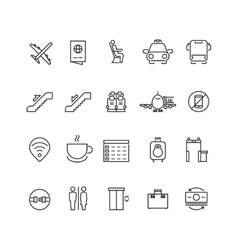 Airport thin line icons vector image