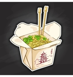 Chinese noodles box color picture sticker vector