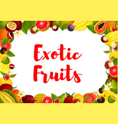 Exotic tropical fruits poster for market vector