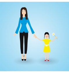 Family mother and happy daughter with flower in vector
