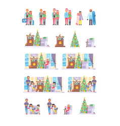 Family people on christmas winter vacation happy vector
