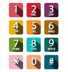 flat design phone dial numbers set vector image