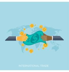 Flat hands global international trading concept vector
