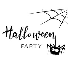 halloween holiday calligraphy with a spider vector image