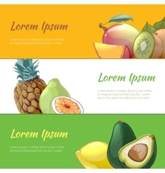 Juicy fruits banners set vector