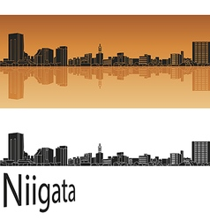 Niigata skyline in orange vector image vector image
