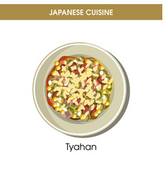 Nutritious oriental tyahan on plate from japanese vector