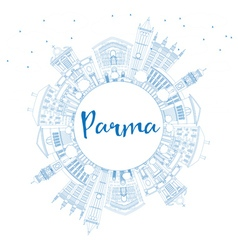 Outline parma skyline with blue buildings vector