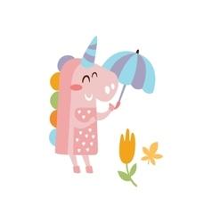 Pink unicorn holding umbrella smiling in autumn vector